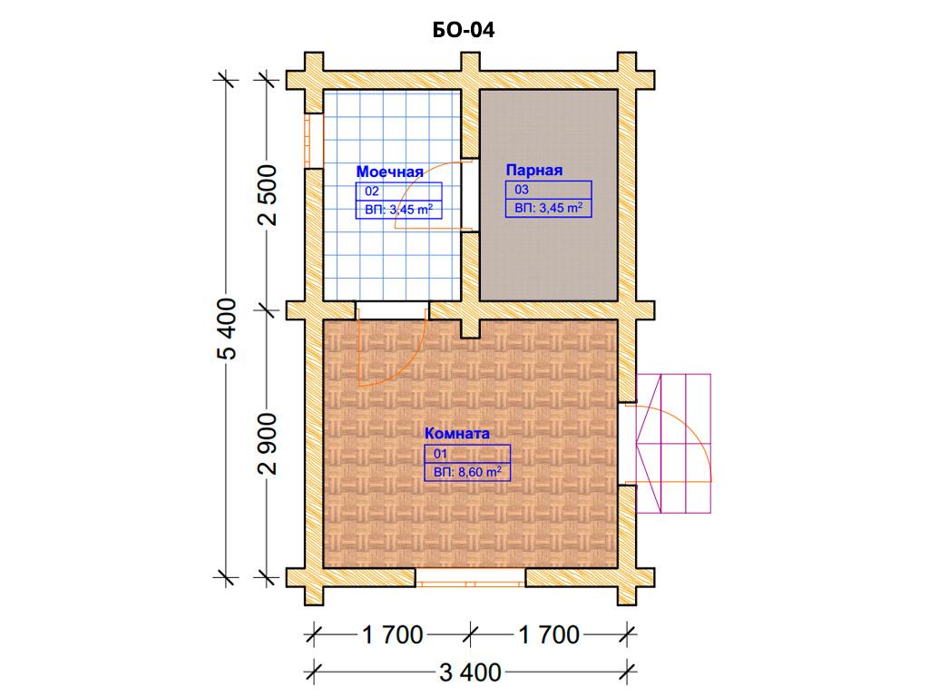 Проект бани 3.5х5.5м БО-04 (план помещений)
