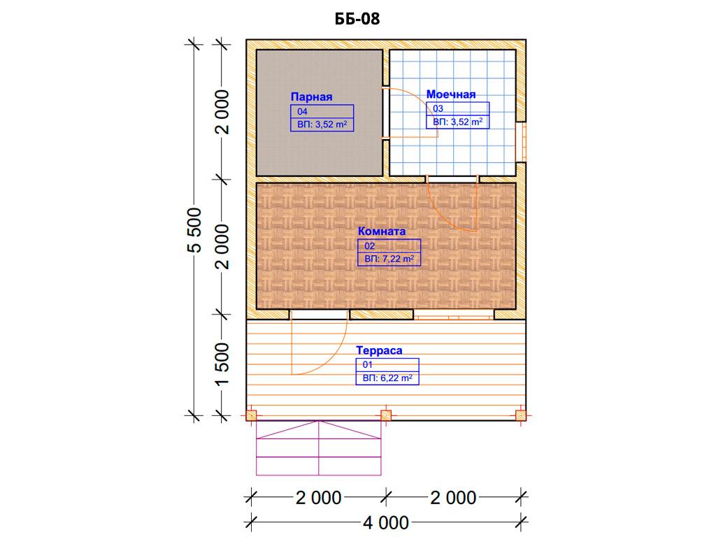 Проект бани 4х5.5м ББ-08 - план помещений