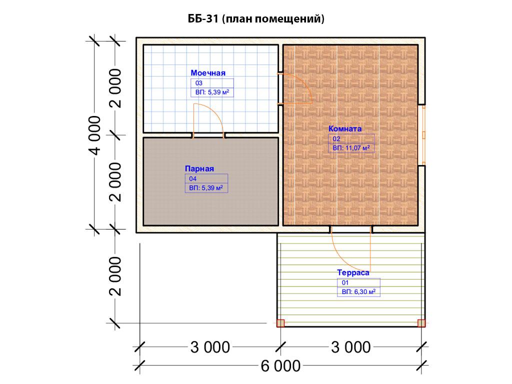 Проект бани 4х6м ББ-31 - план помещений