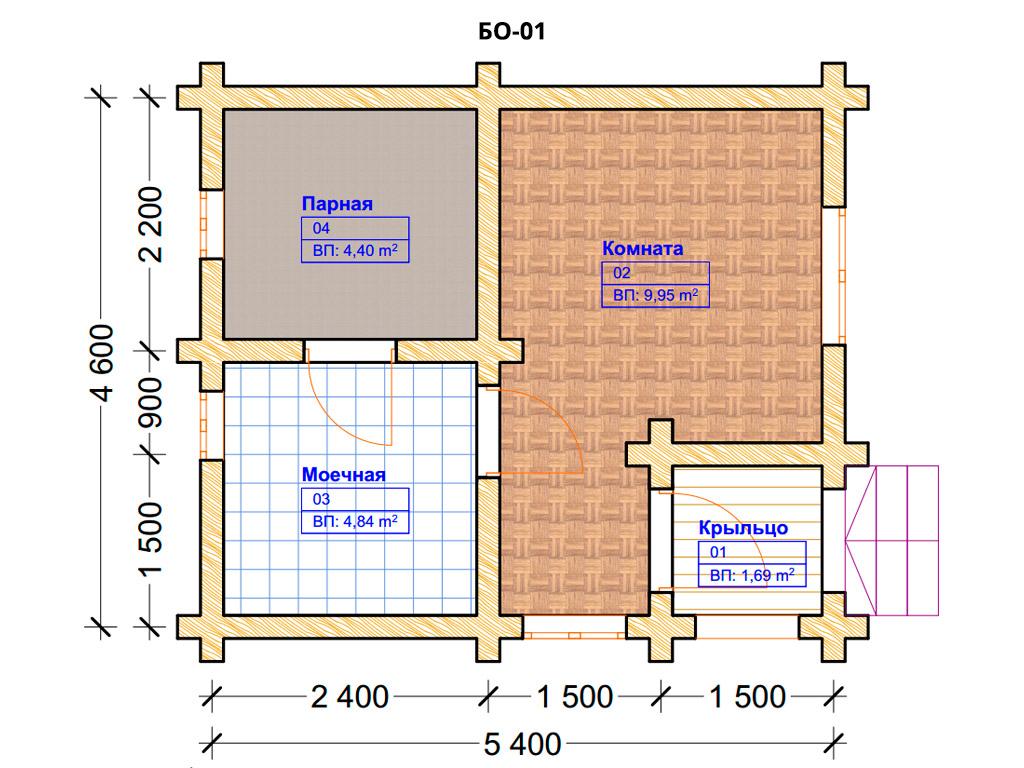 Проект бани 4.5х5.5м БО-01 (план помещений)