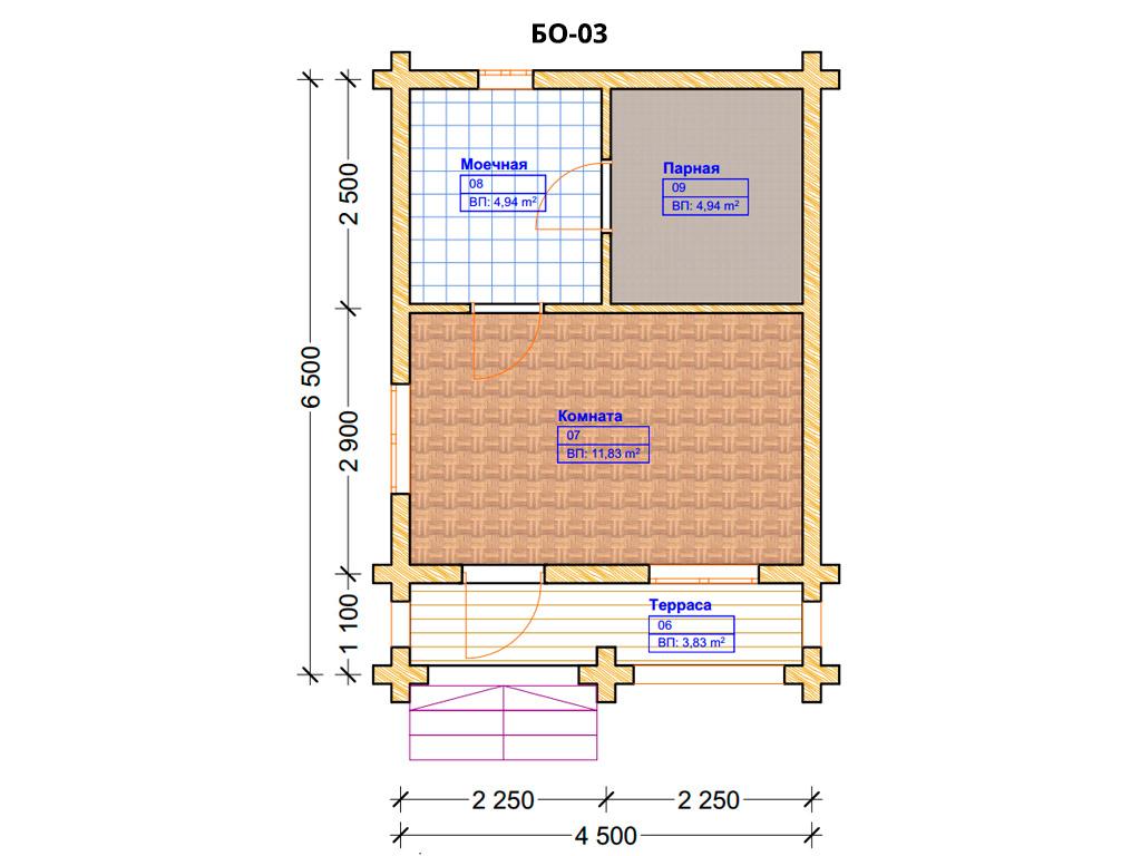 Проект бани 4.5х9.5м БО-03 (план помещений)