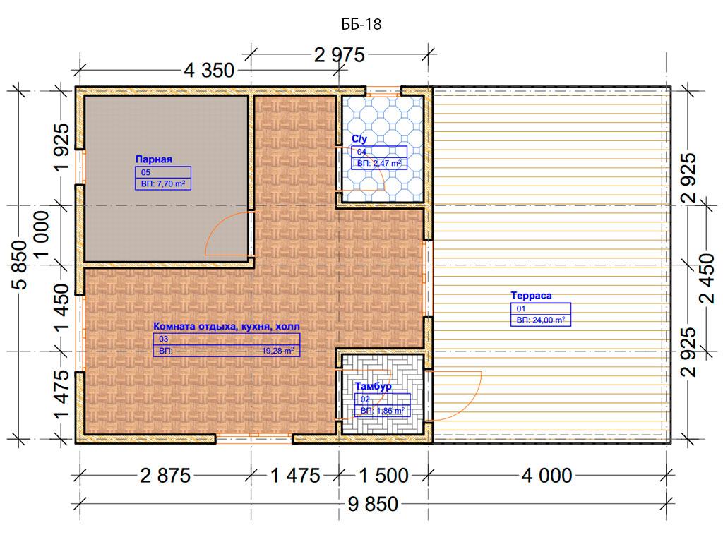 Проект бани 6х10м ББ-18 - план помещений
