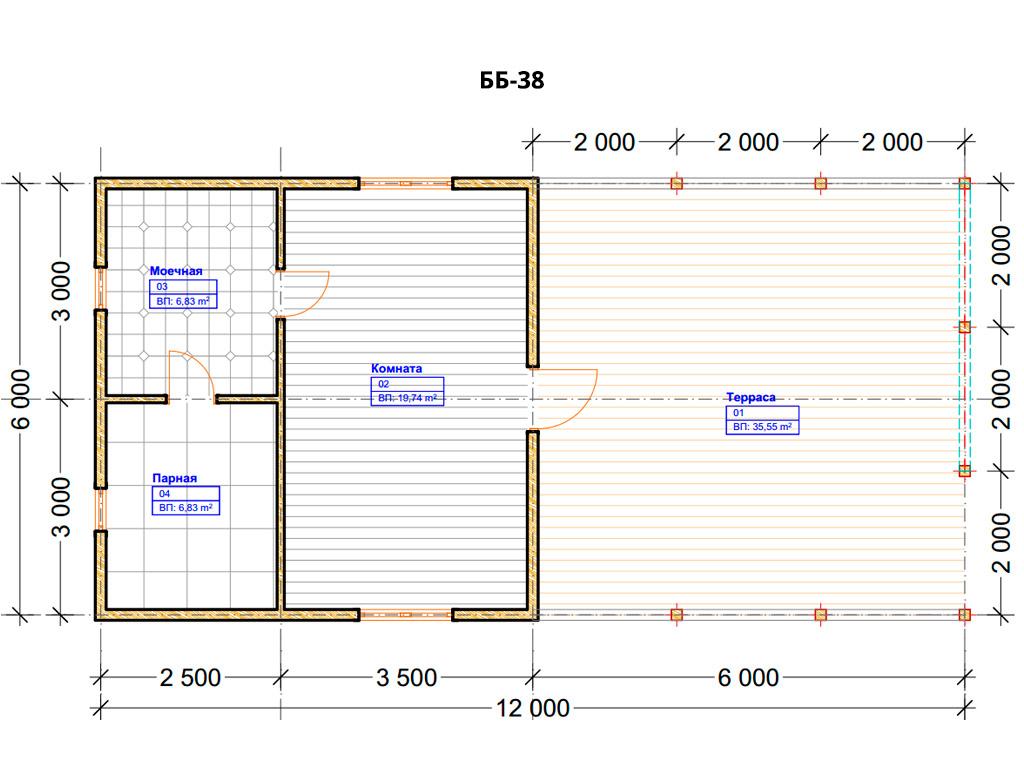 Проект бани 6х12м ББ-38 - план помещений