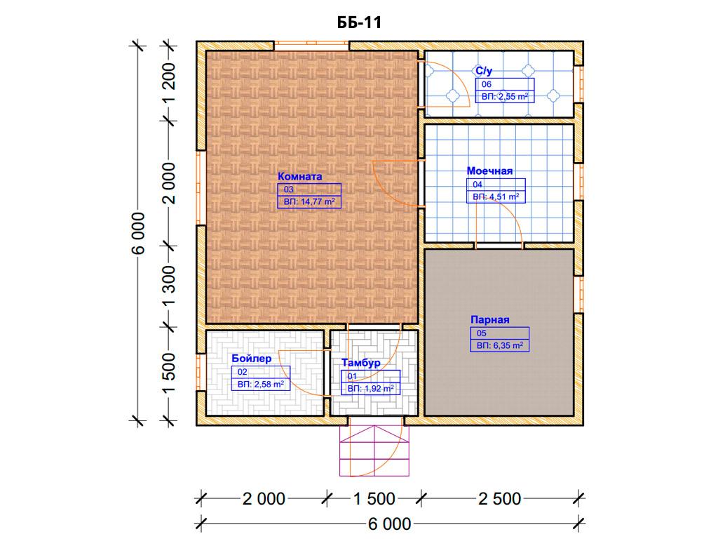 Проект бани 6х6м ББ-11 - план помещений