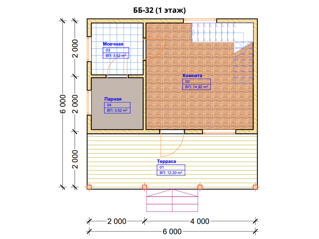 Проект бани 6х6м ББ-32 - план 1 этажа