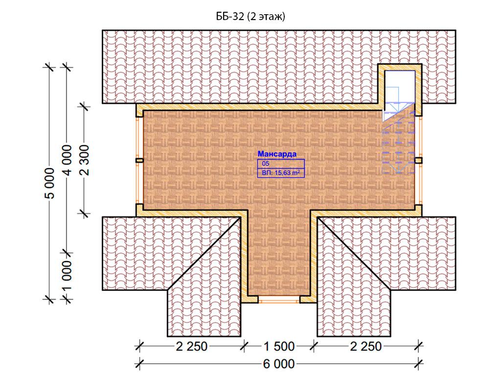 Проект бани 6х6м ББ-32 - план 2 этажа