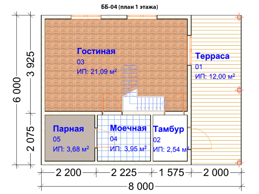 Проект бани 6х8м ББ-04 (план 1 этажа)