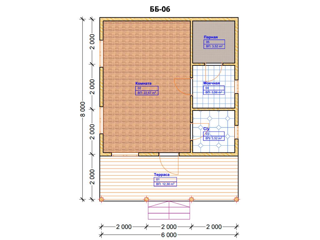 Проект бани 6х8м ББ-06 - план помещений