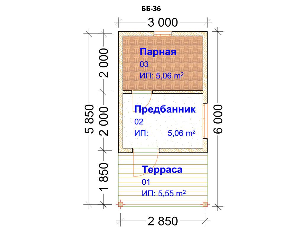 Проект бани 6х8м ББ-36 план помещений