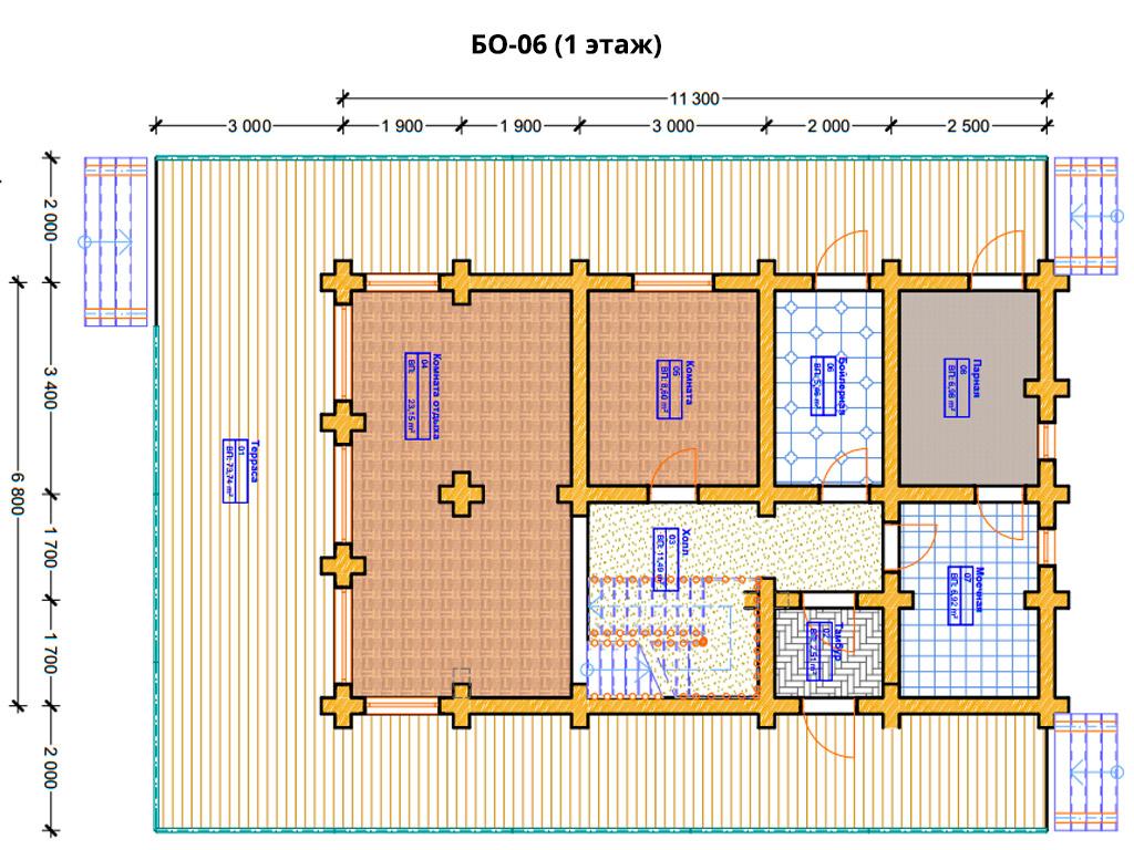 Проект бани 6.8х11.3м БО-06 - план 1 этажа