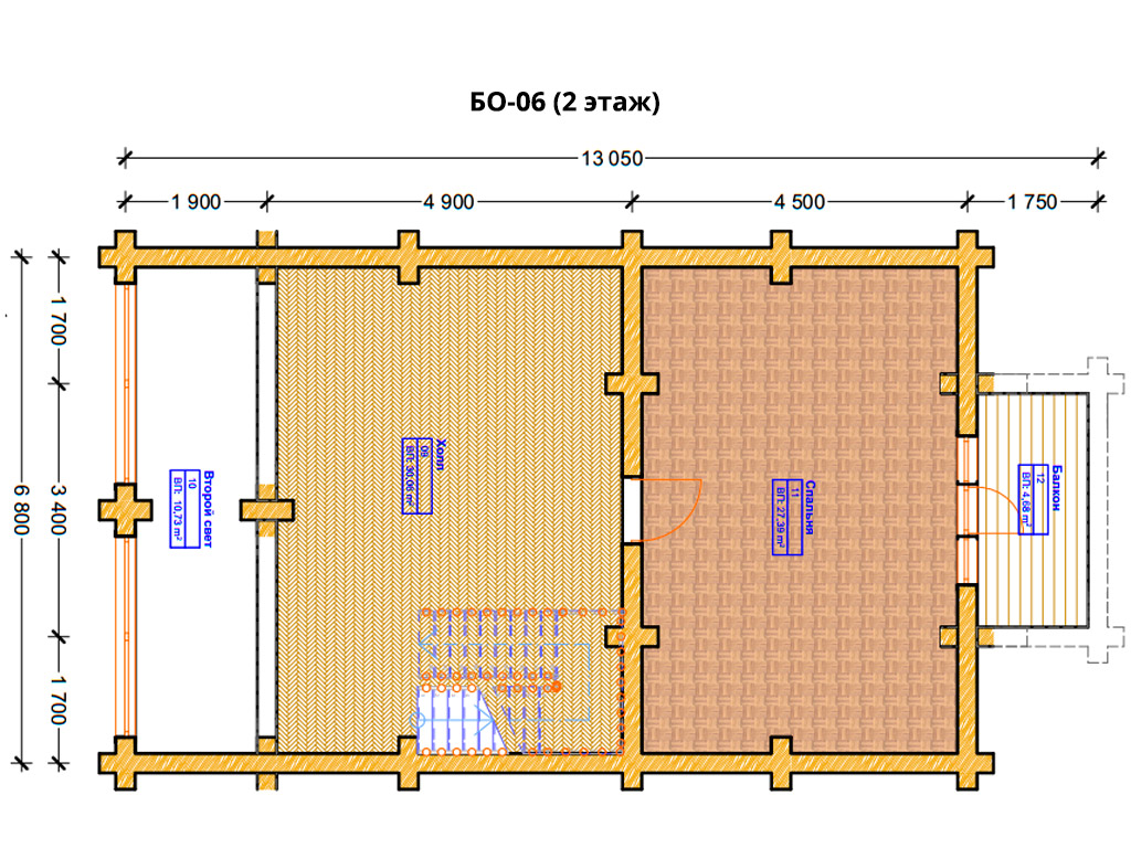 Проект бани 6.8х11.3м БО-06 - план 2 этажа
