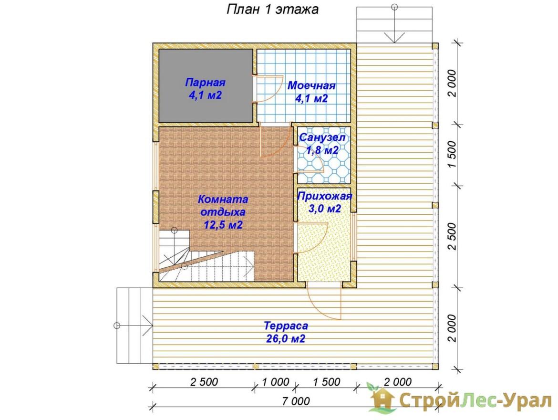 Проект бани 7х8м ББ-44 план 1 этажа