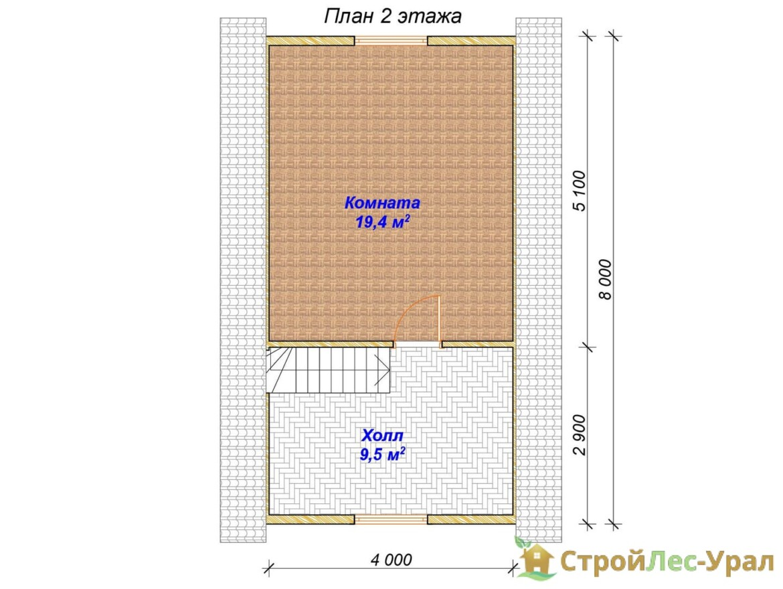Проект бани 7х8м ББ-44 план мансарды