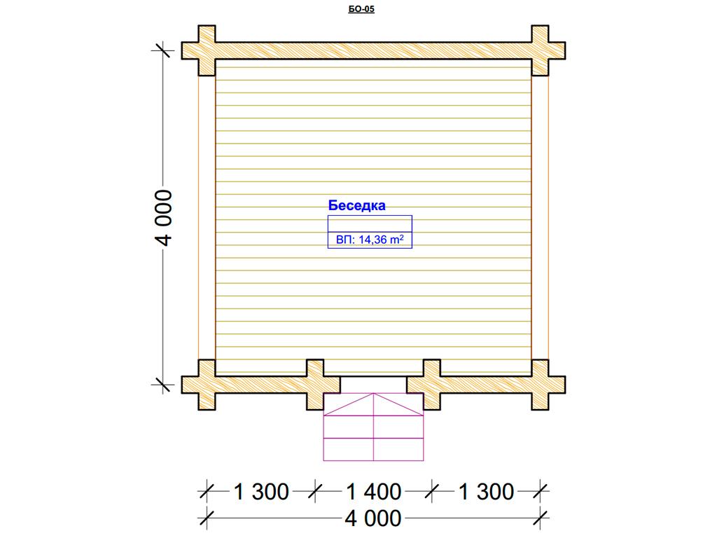 Проект беседки 4х4м БО-05 - план помещений