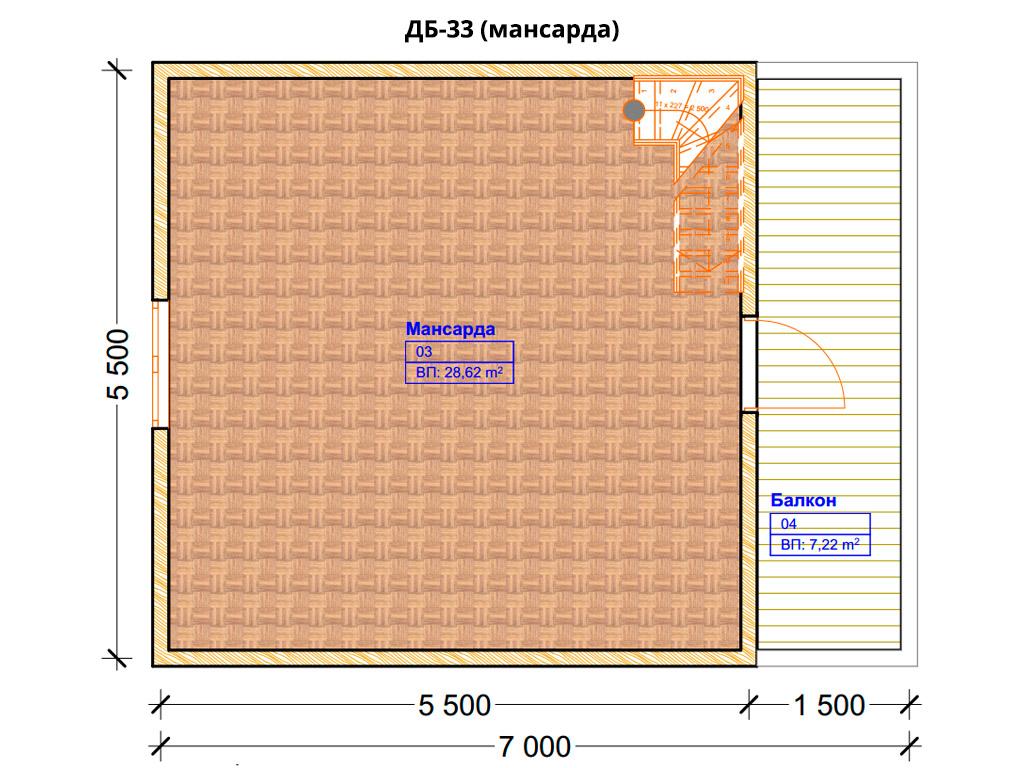 Проект дома 5.5х9.5м ДБ-33 (план 2 этажа)
