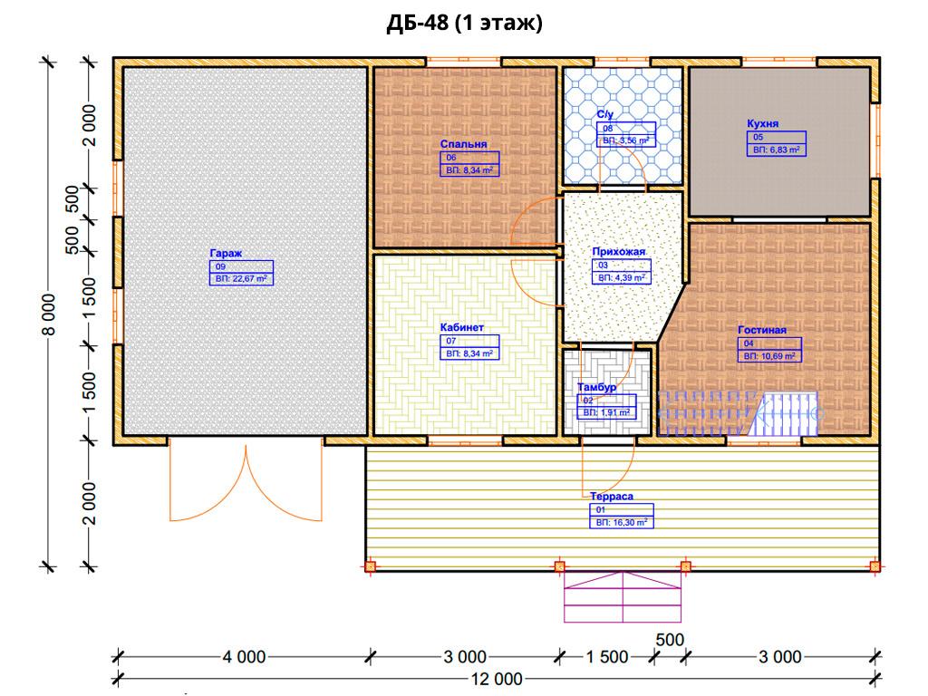 Проект дома 6х12м ДБ-48 - план 1 этажа