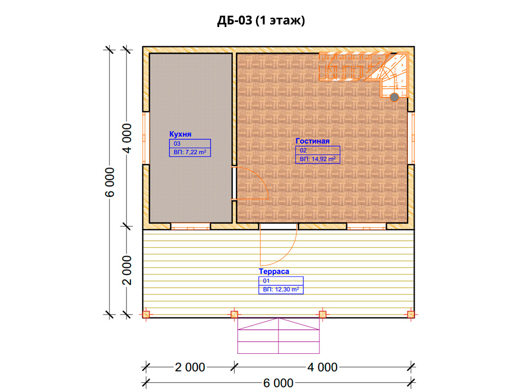 Проект дома 6х6м ДБ-03 - план 1 этажа