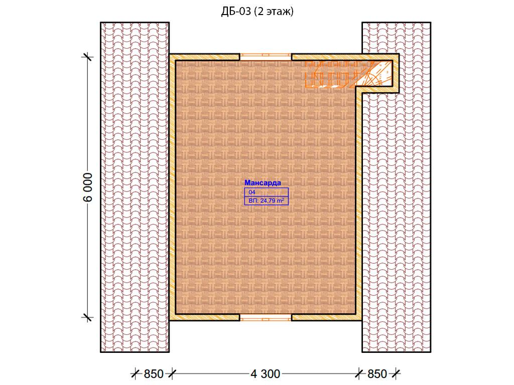 Проект дома 6х6м ДБ-03 - план 2 этажа