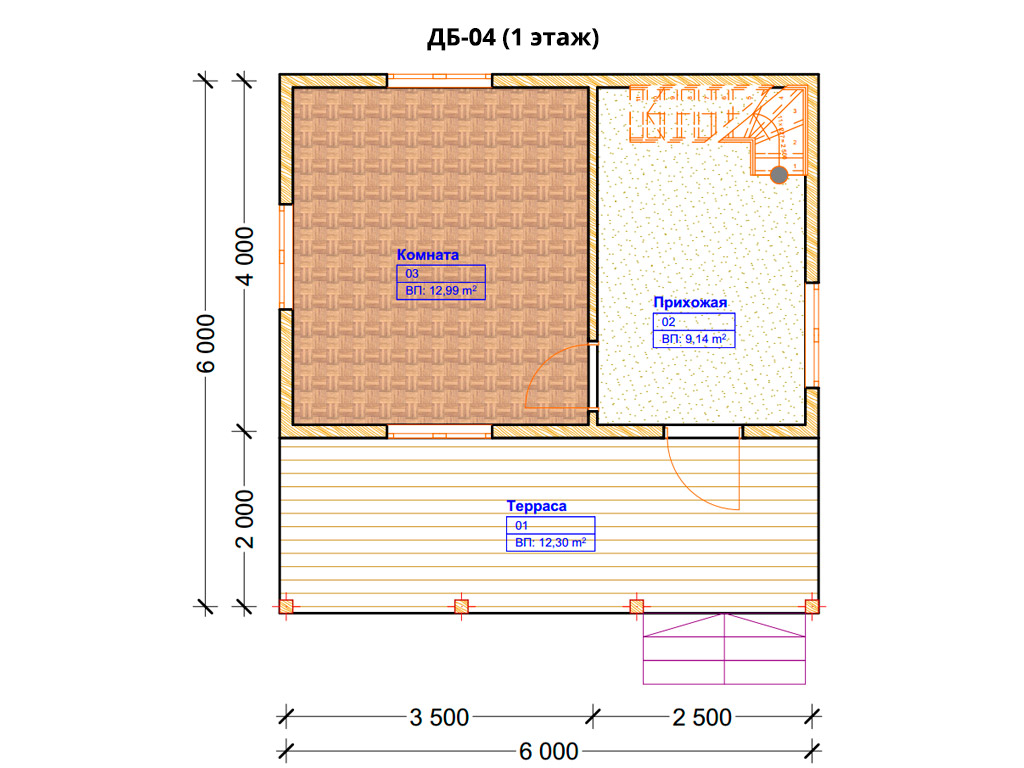 Проект дома 6х6м ДБ-04 - план 1 этажа