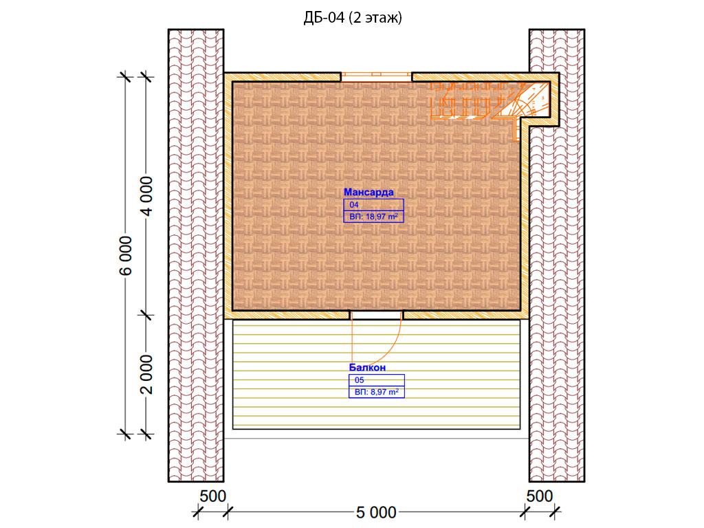 Проект дома 6х6м ДБ-04 - план 2 этажа