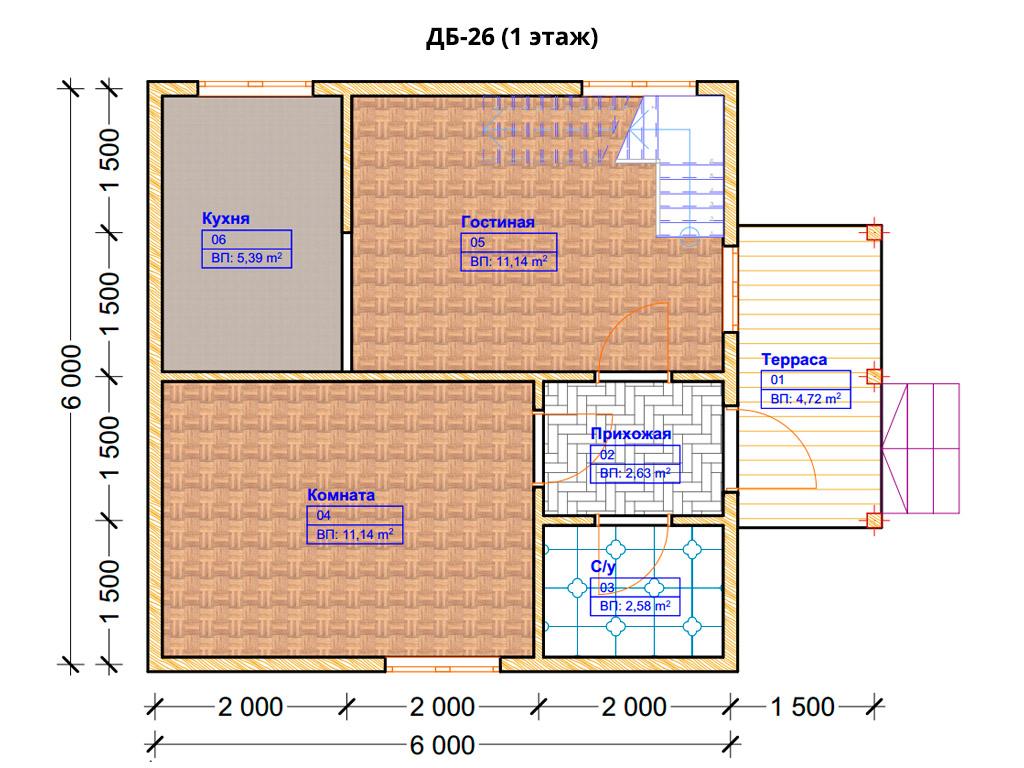 Проект дома 6х6м ДБ-26 - план 1 этажа