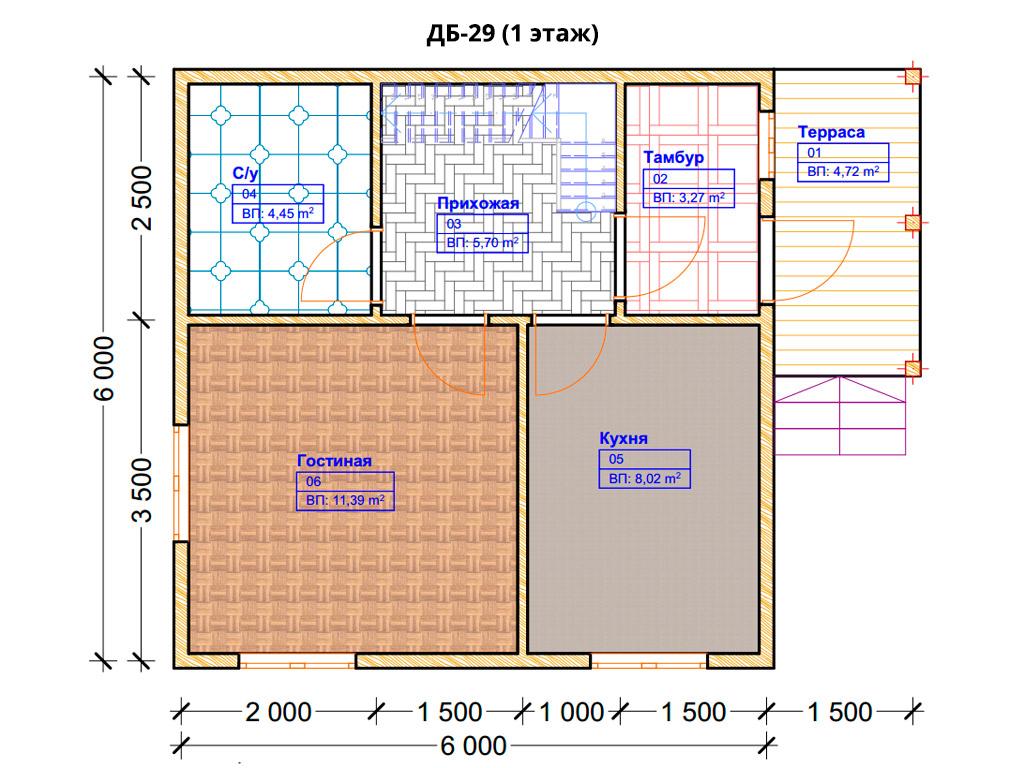 Проект дома 6х6м ДБ-29 - план 1 этажа