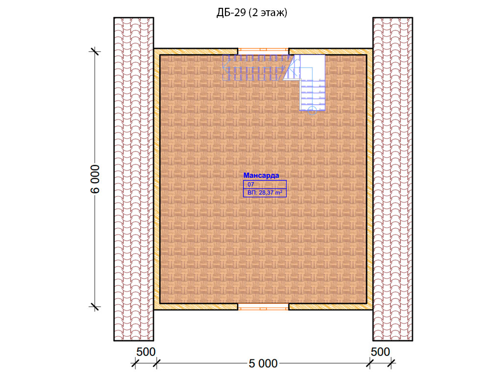Проект дома 6х6м ДБ-29 - план 2 этажа