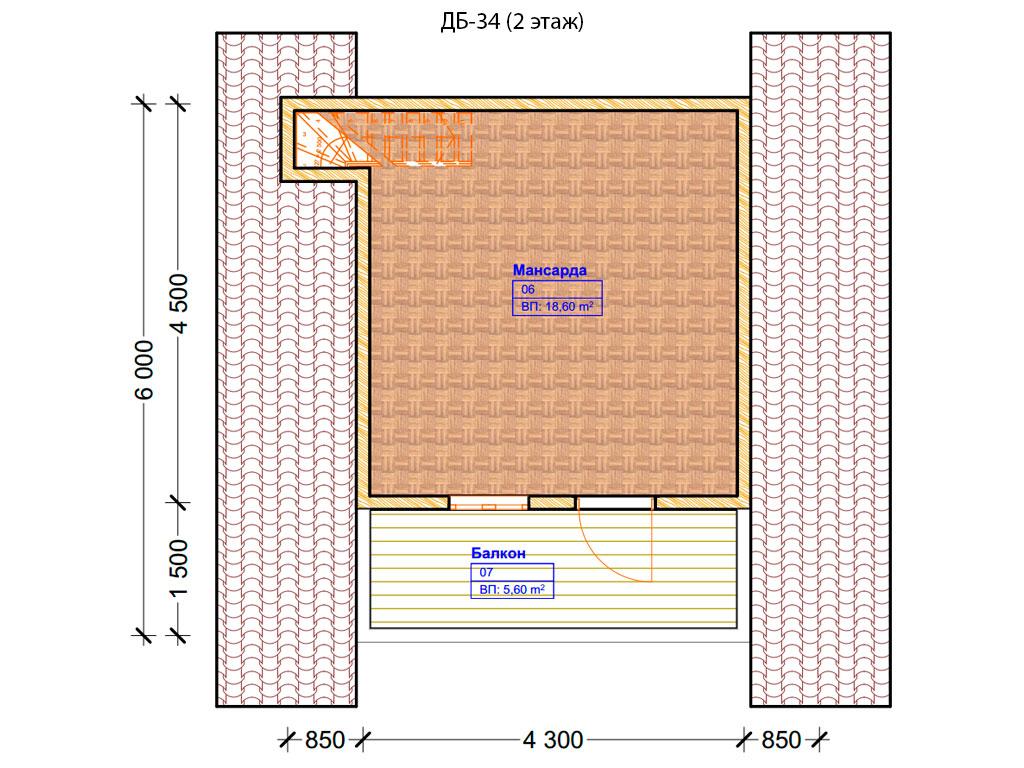 Проект дома 6х6м ДБ-34 - план 2 этажа