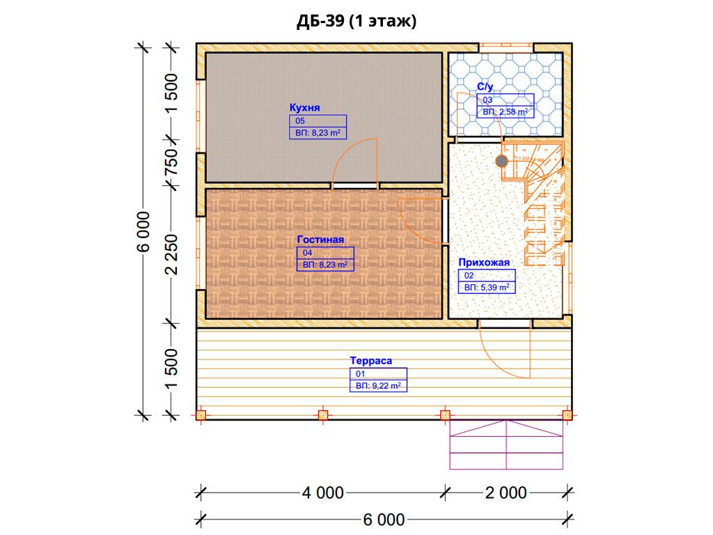 Проект дома 6х6м ДБ-39 - план 1 этажа