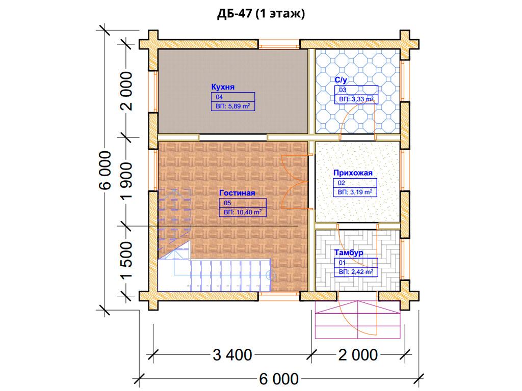 Проект дома 6х6м ДБ-47 - план 1 этажа