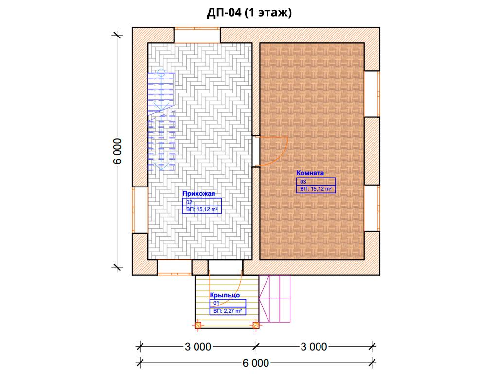 Проект дома 6х6м ДП-04 - план 1 этажа