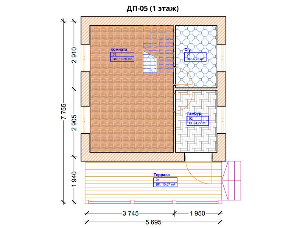 Проект дома 6х6м ДП-05 - план 1 этажа