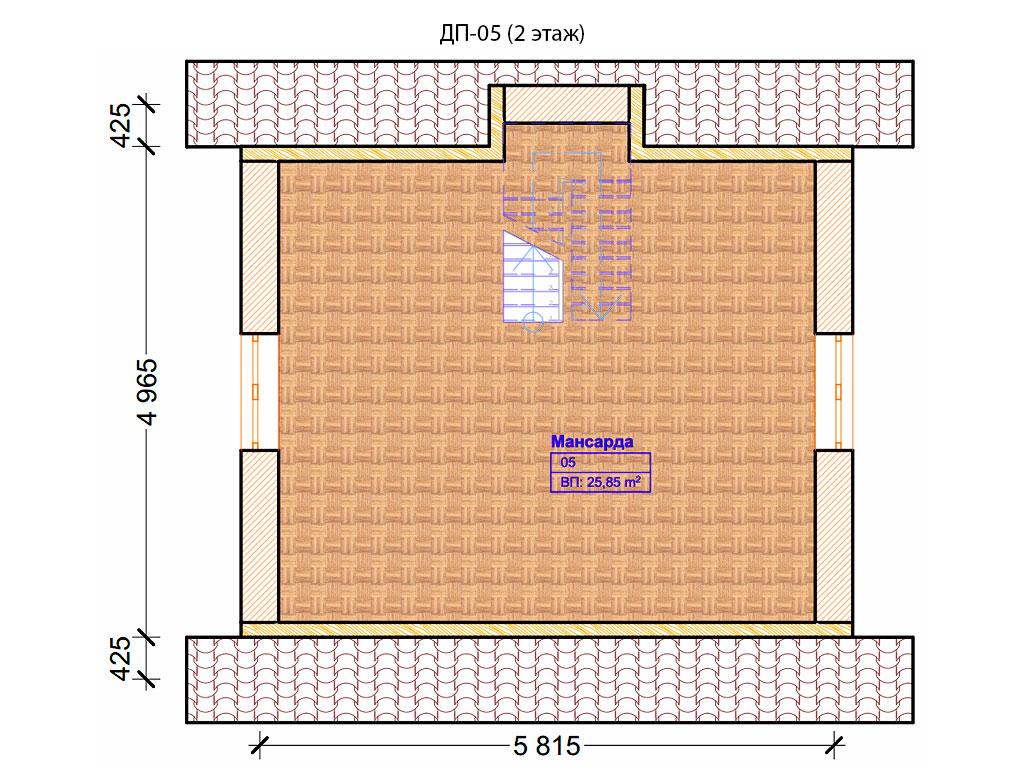 Проект дома 6х6м ДП-05 - план 2 этажа