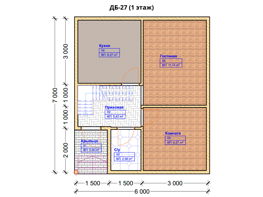Проект дома 6х7м ДБ-27 - план 1 этажа