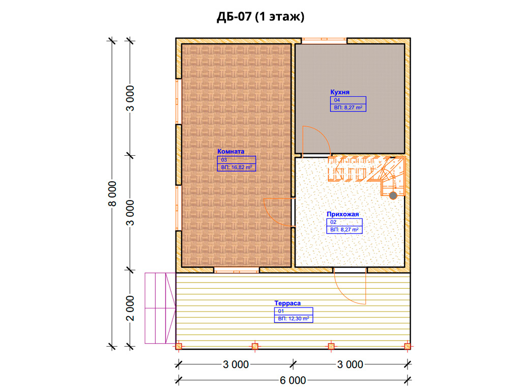 Проект дома 6х8м ДБ-07 - план 1 этажа