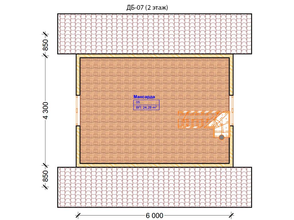 Проект дома 6х8м ДБ-07 - план 2 этажа