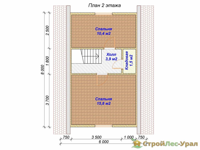 Проект дома 6х8м ДБ-15