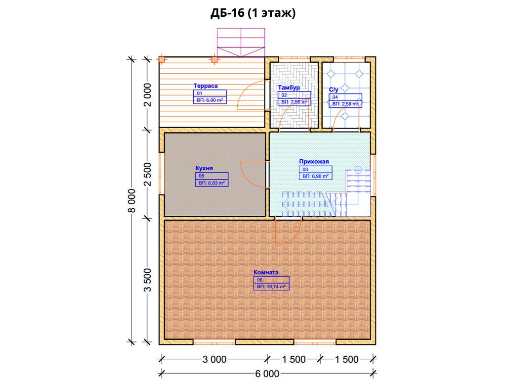 Проект дома 6х8м ДБ-16 - план 1 этажа