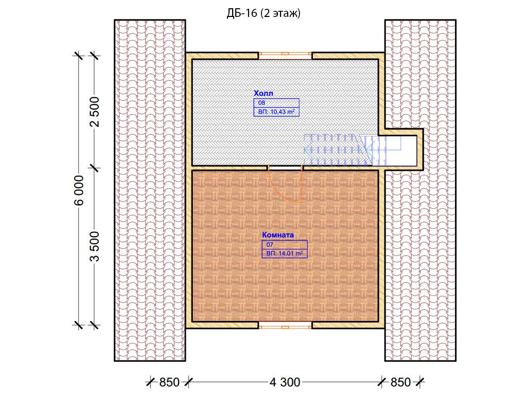 Проект дома 6х8м ДБ-16 - план 2 этажа