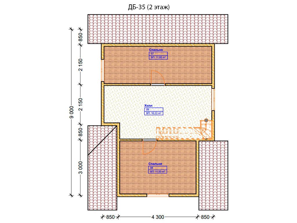 Проект дома 6х9м ДБ-35 - план 2 этажа