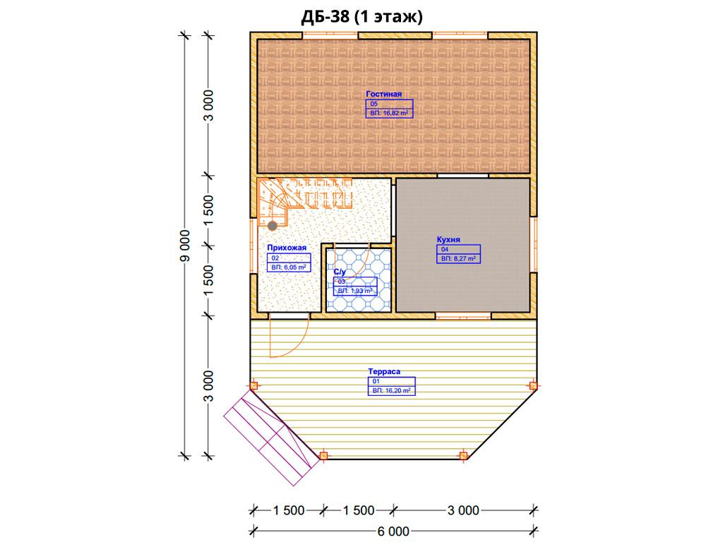 Проект дома 6х9м ДБ-38 - план 1 этажа
