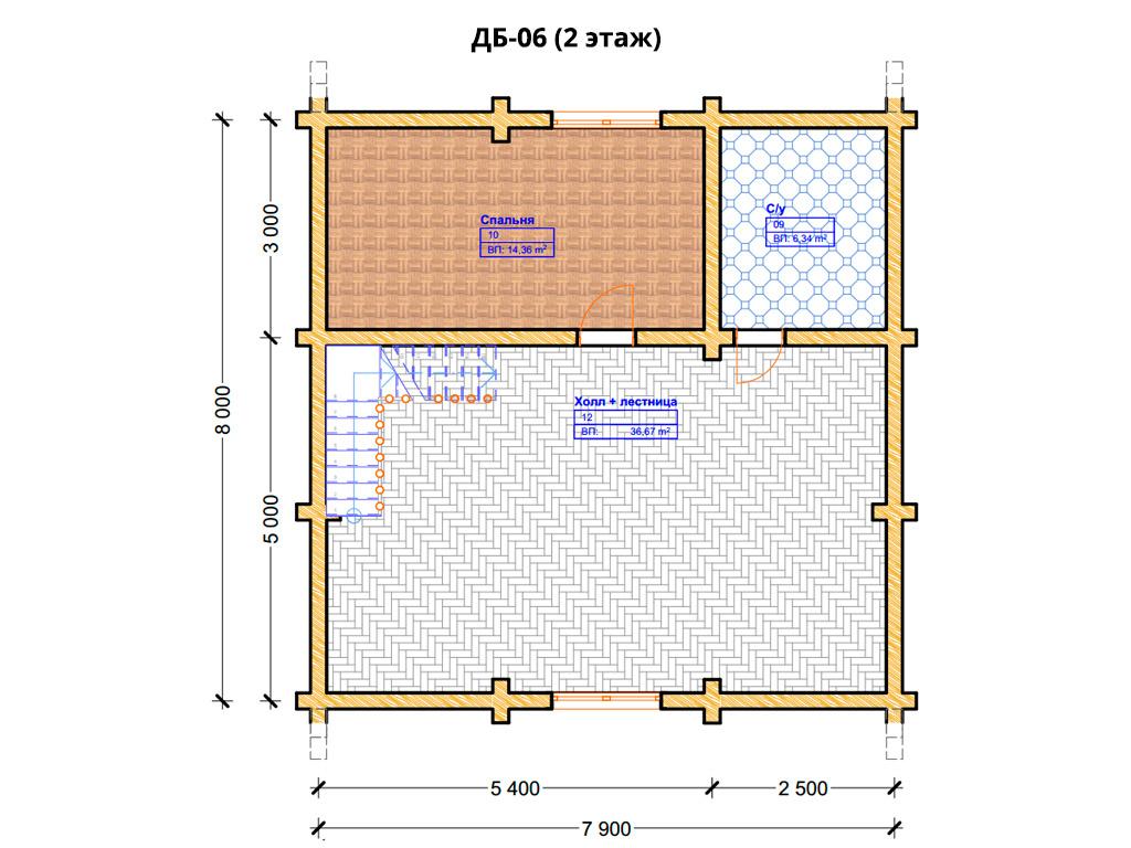 Проект дома 8х10м ДБ-06 - план 2 этажа