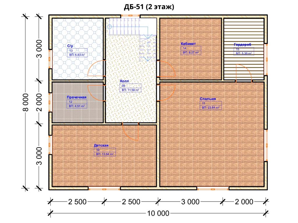 Проект дома 8х10м ДБ-51 - план 2 этажа