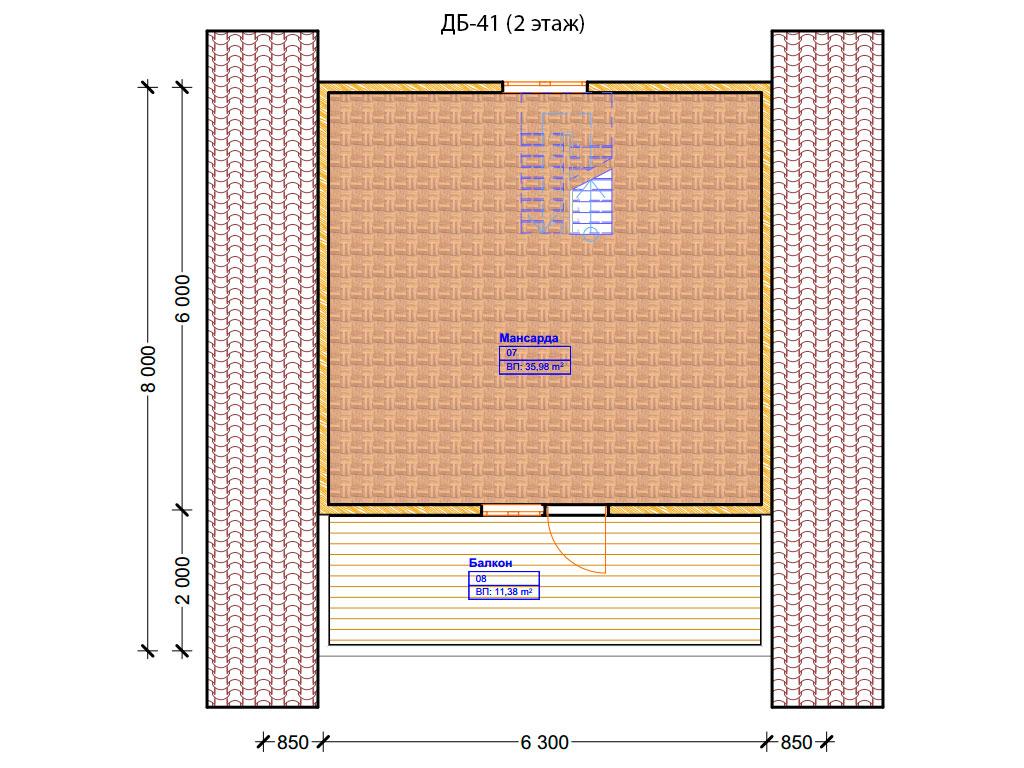 Проект дома 8х8м ДБ-41 - план 2 этажа