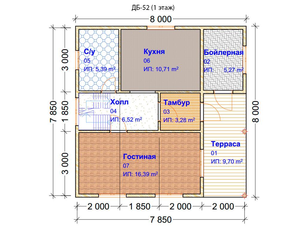 Проект дома 8х8м ДБ-52 - план 1 этажа