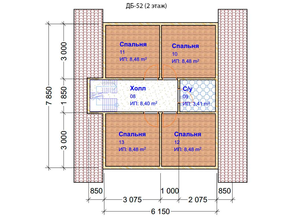 Проект дома 8х8м ДБ-52 - план 2 этажа