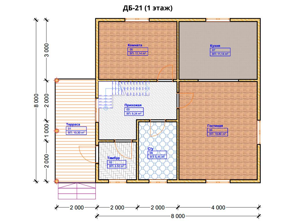 Проект дома 8х8.5м ДБ-21 - план 1 этажа