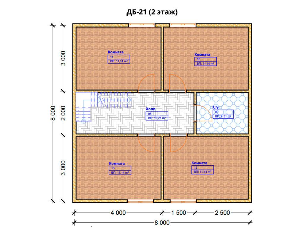 Проект дома 8х8.5м ДБ-21 - план 2 этажа