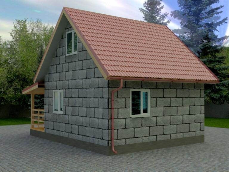 садовый домик из шлакоблока