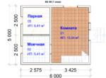 Проект бани 5х6 ББ-48 (план 1 этажа)